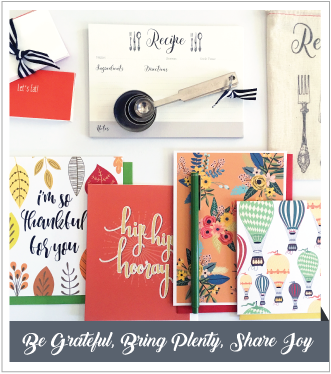 V. Paperie November subscription box. The theme was 'Giving Thanks' and included 4 greeting cards (Thankful, Congratulations Thanks, Blank), 12 recipe cards, 12 placecards, measuring spoons, and a green pen.