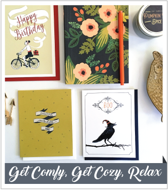 V. Paperie October subscription box. The theme was 'Relax' and included 3 greeting cards (Halloween, You're amazing, Happy Birthday), Pumpkin Spice scented candle, Journal, and orange pen.