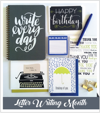 V. Paperie April subscription box. The theme was 'Writing' and included 4 greeting cards (Birthday, Thank You, Sympathy, I Miss You), journal, sticky notes, and blue pen.