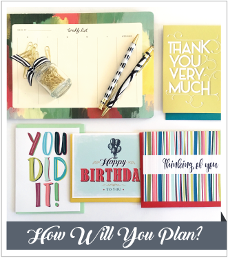 V. Paperie January subscription box. The theme was 'Planning' and included 4 greeting cards (You Did It, Thinking of You, Happy Birthday, Thank You), 52 page weekly planner, pen, and gold paperclips.