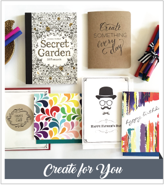 V. Paperie June subscription box. The theme was 'Create for You' and included 4 greeting cards, postcard coloring book, markers and sketchbook.