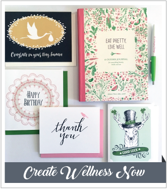 V. Paperie March subscription box. The theme was 'Health' and included 4 greeting cards (Good Luck, Thank You, Happy Birthday, New Baby), Eating Healthy Journal and pen