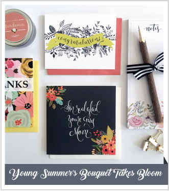 V. Paperie May subscription box. The theme was 'Flowers' and included 3 greeting cards (Mothers Day, Congratulations, blank), bark pencil, gardenia scent candle and floral notepad.