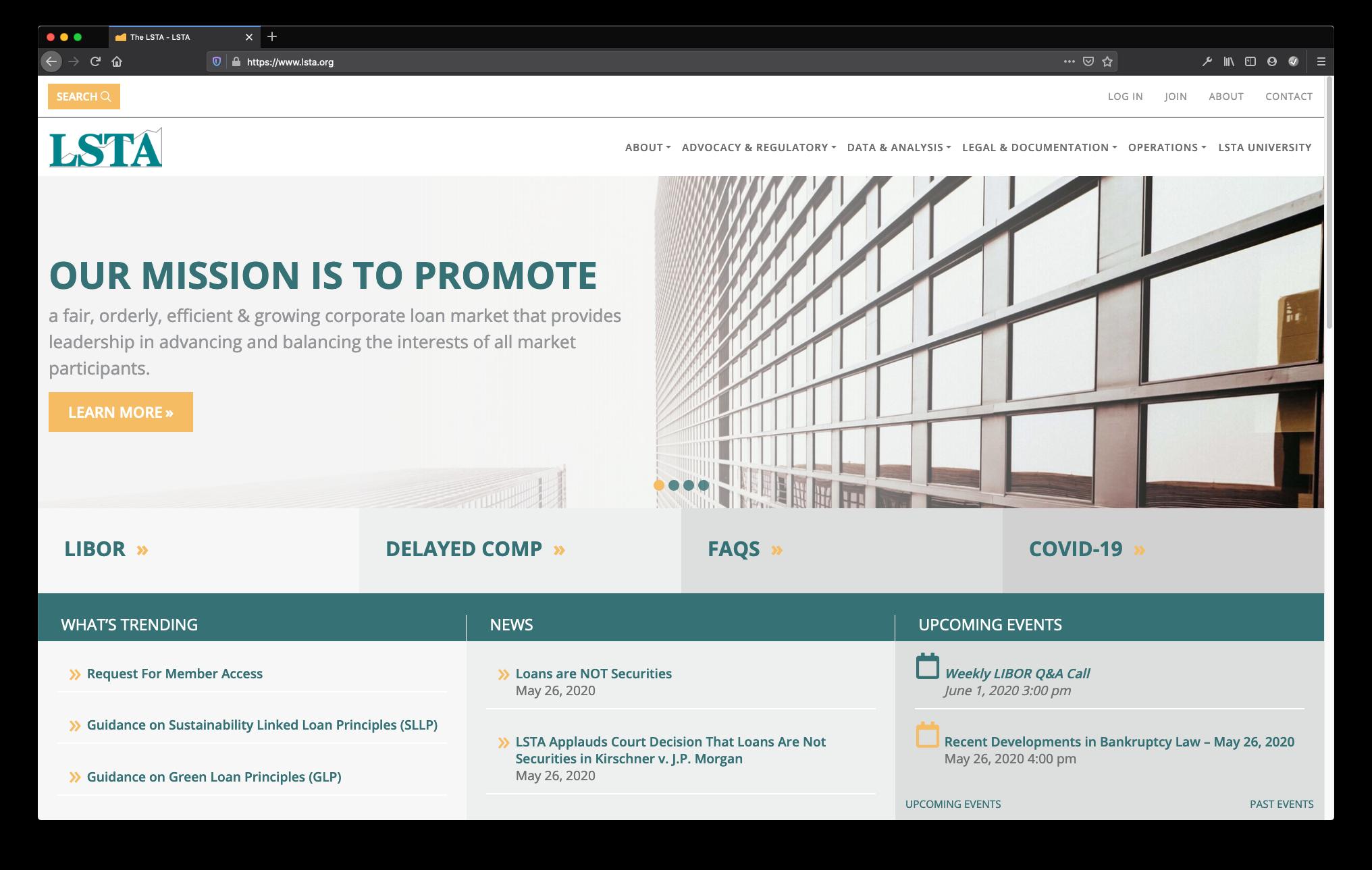 LSTA Homepage screenshot