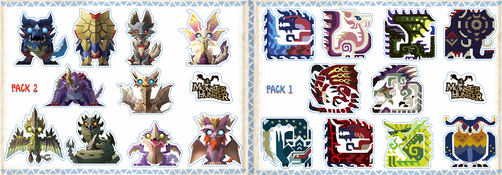 Monster Hunter 3DS Sticker Packs now come in sets of 10!