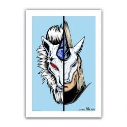 "Blue Half / Half Kirin 6.6x10"" Art Print"