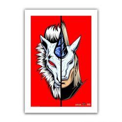 "Red Half / Half Kirin 6.6x10"" Art Print"