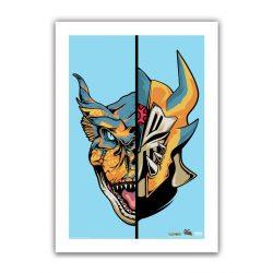 """Aqua Half / Half Tigrex 6.6x10"""" Art Print"""