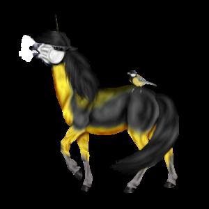 Jezdecký jednorožec Irský tinker Černý hnědák Tobiano