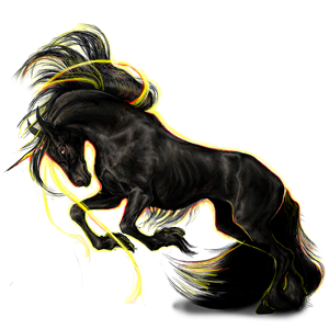 Winged riding unicorn Friesian Black