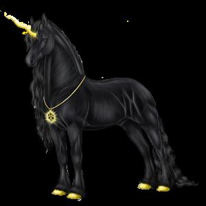 Jezdecký jednorožec Fríský kůň Vraník