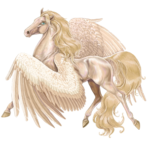 Riding pegasus Lusitano Cremello