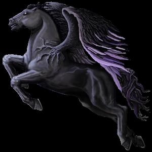 حصان مجنح بيغاسوس خيل سبق فرنسي  أسود