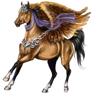 Riding pegasus Hanoverian Dun