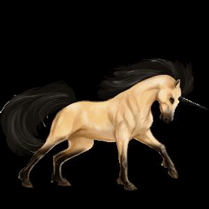 Riding unicorn Akhal-Teke Cremello
