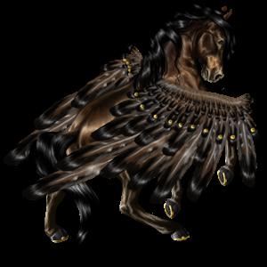 Pegasus-Reitpferd Friese Rappe
