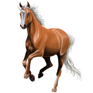 Winged riding unicorn Mustang Flaxen Chestnut