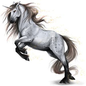Riding unicorn Purebred Spanish Horse Dapple Gray