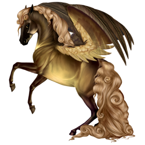 Ridepegasus Mustang Svart med flekkete teppe