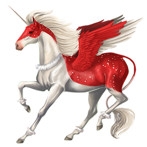 Winged riding unicorn Paint Horse Chestnut Overo