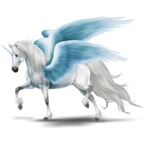 Winged riding unicorn Trakehner Cremello