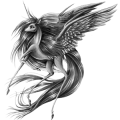 Winged riding unicorn Quarter Horse Bay