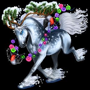 Jezdecký jednorožec Achaltekinský kůň Cremello
