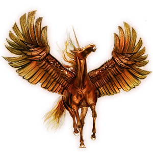 Winged riding unicorn French Trotter Flaxen Chestnut
