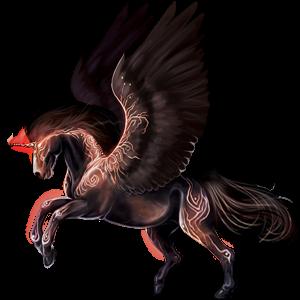Winged riding unicorn Akhal-Teke Flaxen Chestnut