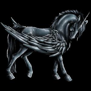 Unicornio de montar alado Pura sangre Negro