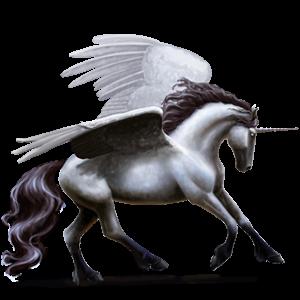 Winged riding unicorn Vanner Dun