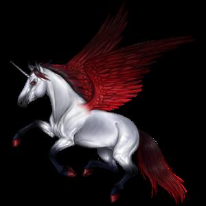 Winged riding unicorn Marwari Cremello
