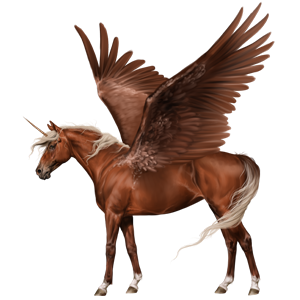 Winged riding unicorn Brumby Strawberry roan