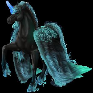 Winged riding unicorn Vanner Black Tobiano
