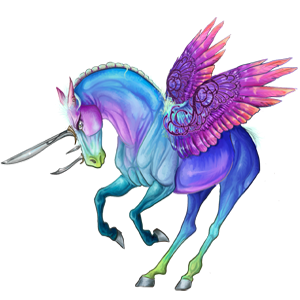 Winged riding unicorn Vanner Dun Tobiano