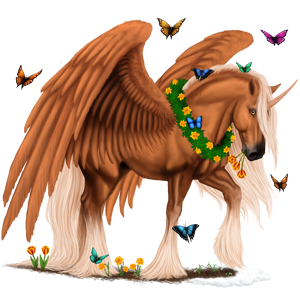 Winged riding unicorn Vanner Flaxen Liver chestnut