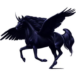 Winged riding unicorn Vanner Black Tobiano