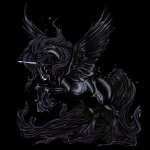 Licorne de selle ailée Frison Noir