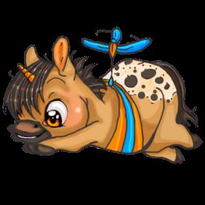 Geflügeltes Einhorn-Reitpferd Curly Horse Dunkelfuchs