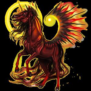 Winged riding unicorn Arabian Horse Chestnut