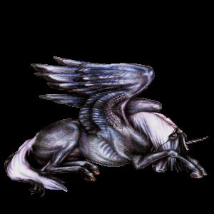 Geflügeltes Einhorn-Reitpferd Araber Hellgrau