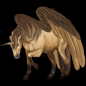Gevleugelde rijpaard-eenhoorn Arabier Kastanje