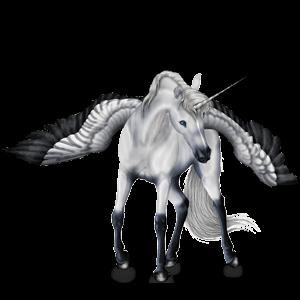 Winged riding unicorn Purebred Spanish Horse Light Gray