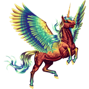Winged riding unicorn Arabian Horse Chestnut