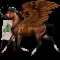 Unicorno da corsa alato Curly Tobiano Palomino