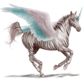 Winged riding unicorn Purebred Spanish Horse Dapple Gray