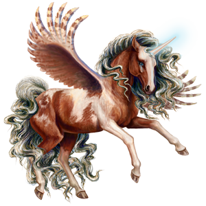 Winged riding unicorn French Trotter Dark Bay