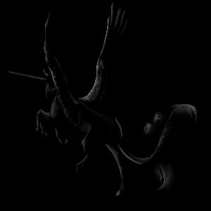 Geflügeltes Einhorn-Reitpferd Araber Rappe