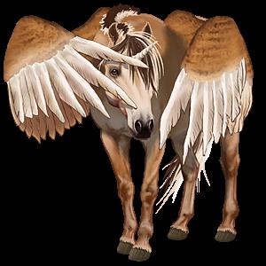 Winged unicorn pony  Fjord Gulblakk
