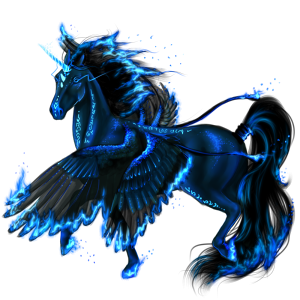 Winged riding unicorn Holsteiner Dark Bay